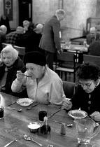 Pensioners at a luncheon club, council day center, Balsall Heath, Birmingham 1994 - John Harris - 09-11-1994