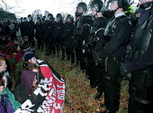 Police in body armour as demonstraters protest against the Criminal Justice Act outside Chequers - John Harris - 11-12-1994