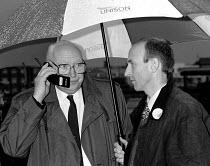 Jimmy Knap RMT on mobile telephone & John Healy TUC signal workers picket Blackpool - John Harris - 30-09-1994