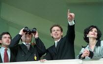 Gordon Brown MP John Prescott MP Tony Blair MP & Cherie Blair MP at Red Rose races Labour Party Conference 1995 - John Harris - 1990s,1995,Conference,conferences,Labour Party,Party,POL,POL politics,political,POLITICIAN,POLITICIANS,Politics,SPO sport,Tony Blair