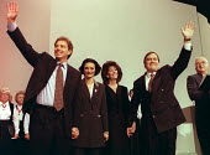 Tony Blair Cherie Blair with Pauline Prescott and John Prescott at the end of Labour Party conference 1995 - John Harris - 1990s,1995,conference,conferences,Labour Party,Party,POL,POL politics,political,POLITICIAN,POLITICIANS,Politics,Tony Blair
