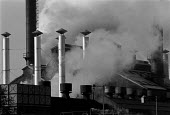 Emissions from a steel foundry, Handsworth Birmingham - John Harris - 1990s,1995,Birmingham,capitalism,capitalist,Chimney,Chimneys,cities,city,EBF economy business,Emissions,engineering,ENI environmental issues,environmental degradation,FACTORIES,factory,FOUNDRIES,found