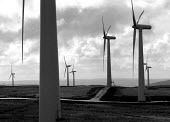 Europe's largest wind farm near Carno in Mid Wales. 56 turbines produce enough electricity to serve the average needs of 250,000 homes supplied at half the cost of local domestic power 27/10/96 - John Harris - 27-10-1996