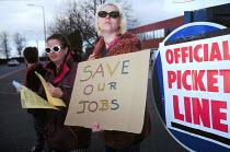 Civil servants on strike against privatisation CPSA PTC Cardiff - John Harris - 1990s,1997,against,CPSA,DISPUTE,DISPUTES,female,INDUSTRIAL DISPUTE,jobs,member,member members,members,people,PICKET,picketing,pickets,privatisation,privatise,privatization,strike,STRIKERS,strikes,stri