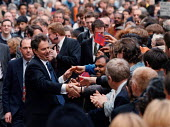 Tony Blair MP Labour shaking hands with supporters during last days of the election campaign Leicester - John Harris - 1990s,1997,campaign,campaigning,CAMPAIGNS,General Election,hands,Leicester,POL politics,supporters