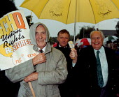 Len Murray John Monks & Norman Willis GCHQ trade unions march & rally to celebrate the restoration the right to organize trade unions at GCHQ Cheltenham 31.8.97 - John Harris - 31-08-1997