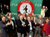 GCHQ trade unions march & rally to celebrate the restoration the right to organize trades union at GCHQ Cheltenham 31.8.97 - John Harris - 31-08-1997