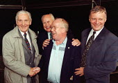 Len Murray Norman Willis & John Monks congratulate Mike Grindley GCHQ trade unions march & rally to celebrate the restoration the right to organize trade unions at GCHQ Cheltenham 31.8.97 - John Harris - 31-08-1997