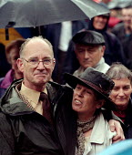 Pride Brian Johnson GCHQ trade unions march & rally to celebrate the restoration the right to organize a trades union at GCHQ Cheltenham 31.8.97 - John Harris - 31-08-1997