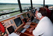 Air traffic controllers at Gatwick airport - John Harris - 1990s,1997,air,air transport,airline,airport,AIRPORTS,control,cpsa,ebf economy business,Gatwick,job,jobs,journey,journeys,LAB LBR work,people,public services,SCT science & technology,service,services,