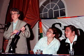 Jackie Lewis UNISON at Stonewall Group fringe meeting Labour Party Conference 1997 Brighton - John Harris - 1990s,1997,Conference,conferences,gay,lesbian,LESBIANS,LGBT,meeting,MEETINGS,Party,POL politics,rights,SEXUALITY,Stonewall,UNISON