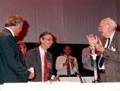 Robin Smith IPMS GCHQ gold badge at TUC 1997 Brighton - John Harris - 10-09-1997