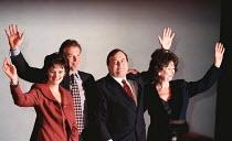 Cherie Blair, Tony Blair, John Prescott & Mrs Prescott at Labour Party Conference 1997 Brighton - John Harris - ,1990s,1997,Brighton,Cherie Blair,Conference,conferences,John Prescott,Labour Party,Party,POL politics,Tony Blair