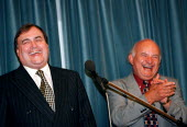 John Prescott laughing with Rodger Lyons MSF at a trades union at Labour Party Conference 1997 Brighton - John Harris - 30-10-1997