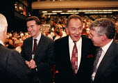 Alistair Darling Peter Mandelson Jack Cunningham and Jack Straw chatting at Labour Party Conference 1997 Brighton - John Harris - 30-09-1997