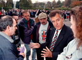 Peter Hain Labour MP talking to CWU Critchley labels workers outside the Welsh Office - John Harris - 02-11-1997