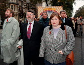 Edwina Hart BIFU with local MP's & CWU Critchley labels workers marching in Cardiff - John Harris - 01-11-1997