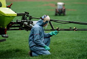 Student training to crop spray Argricultural Further Education College - John Harris - 1990s,1997,adolescence,adolescent,adolescents,AGRICULTURAL,agriculture,agrochemicals,capitalism,capitalist,Chemical,chemicals,College,COLLEGES,crop,crops,danger,dangerous,EBF,EBF economy,Economic,Econ