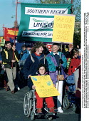 Protesting against cuts in public expenditure on social services Oxford - John Harris - 08-11-1997