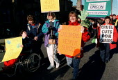 Protesting against cuts in public expenditure on social services children's respite service Oxford 8.11.97 - John Harris - 1990s,1997,activist,activists,against,CAMPAIGN,campaigner,campaigners,CAMPAIGNING,CAMPAIGNS,capping,CHILD,CHILDHOOD,children,cuts,DEMONSTRATING,DEMONSTRATION,DEMONSTRATIONS,disabilities,disability,dis