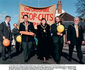 Local government officials protesting against cuts in public expenditure on social services Oxford 8.11.97 - John Harris - 1990s,1997,activist,activists,against,authorities,CAMPAIGN,campaigner,campaigners,Campaigning,CAMPAIGNS,capping,cuts,DEMONSTRATING,DEMONSTRATION,DEMONSTRATIONS,government,local,Local Authority,OFFICIA