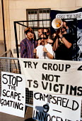 """Protest outside Oxford Law courts where 9 of the inmates of the Campsfield House Detention Center are being tried for """" riot """". Campsfield House Detention Centre. Asylum seekers are held at the site o... - John Harris - 1990s,1998,activist,activists,Asylum Seeker,Asylum Seeker,CAMPAIGN,campaigner,campaigners,CAMPAIGNING,CAMPAIGNS,center,DEMONSTRATING,DEMONSTRATION,DEMONSTRATIONS,deportation,deportations,deporting,det"""