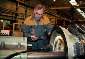 Engineer measuring tolerances at Alstom turbine manufacturing Lincoln - John Harris - 20-10-1998