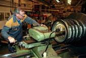 Engineer machining to fine tolerances at Alstom turbine manufacturing Lincoln - John Harris - 20-10-1998