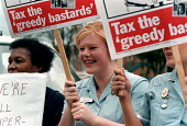 Nurses protesting at low pay and in favour of taxing the wealthy. Selly Oak Hospital Birmingham - John Harris - 15-10-1998