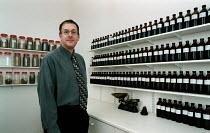 Jonathan Wright BSC MNIMH medical herbalist at his practice - John Harris