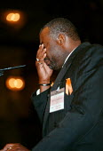 Neville Lawrence, father of Stephen Lawrence who was murdered by racists, halts in tears during an emotional speech to the Trades Union Congress - John Harris - 1990s,1998,BAME,BAMEs,bigotry,Black,BME,bmes,CLJ crime law justice trade union,DAD,DADDIES,DADDY,DADS,DISCRIMINATION,diversity,equal,equality,ethnic,ethnicity,FAMILY,father,FATHERHOOD,FATHERS,INEQUALI