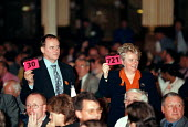 Tony Cooper EMA and Maureen RooneyAEEU delegate voting in a card vote at the Trades Union Congress - John Harris - 15-09-1998