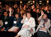 SCP and BOS delegates voting at the Trades Union Congress - John Harris - 1990s,1998,conference,conferences,DELEGATE,delegates,democracy,female,member,member members,members,people,trade union,trade union,trade unions,trades union,trades union,trades unions,tuc,TUCs,VOTE,VO