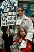 Yugoslavian demonstrators from Belgrade join CND peace demonstration in a protest at the bombing of Yugoslavia by NATO in the Balkans air strikes against Serbian targets. - John Harris - 03-04-1999