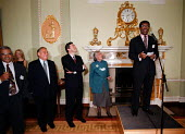 Eddy George Governer of the Bank of England and Gordon Brown MP Labour Chancellor of the Exchequer enjoying a joke by Bill Morris TGWU at a charity function at the Bank of England - John Harris - 1990s,1999,AFFLUENCE,AFFLUENT,BAME,BAMEs,Bank,bank of England,BANKS,billionaire,billionaires,black,BME,BME Black minority ethnic,bmes,Bourgeoisie,businessman,businessmen,capitalism,capitalist,charitab