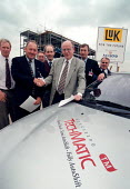MSF Trades Union official Mike Robinson and Director of Kongsberg AP signing a Union recognition agreement for the factory still under construction. - John Harris - 08-06-1999