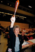 Delegate hoping to speak at TUC Conference 1999 - John Harris - 1990s,1999,Conference,conferences,Delegate,DELEGATES,female,member,member members,members,people,trade union,trade union,trade unions,Trades Union,Trades Union,trades unions,TUC,worker,workers