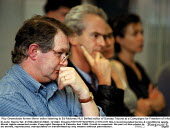 Roy Greenslade former Mirror editor listening to Ed Moloney NUJ Belfast editor of Sunday Tribune at a Campaigns for Freedom of Information and Press and Broadcasting Freedom fringe meeting TUC Confere... - John Harris - 15-09-1999
