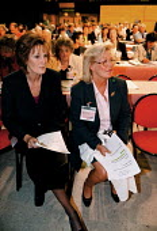 Christine Robinson IUHS Peggy Blyth GMB. Women delegates waiting to speak TUC Conference 1999 - John Harris - 15-09-1999