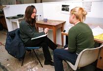 Art lecturer giving tutorial to Art student Oxford Brookes University - John Harris - 18-11-1999