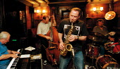 Jazz in the pub. John Patrick Trio with Gilad Atzmon on Sax playing the Jazz Club, White Swan hotel, Stratford upon Avon - John Harris - 18-11-1999