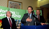 Ken Jackson AEEU, Tony Blair MP and Roger Lyons MSF Joint AEEU MSF reception prior to union merger. Labour Party Conference 1999 - John Harris - 28-09-1999