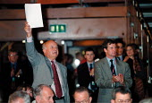 Roger Lyons MSF and Paul Talbot MSF during debate Labour Party Conference 1999 - John Harris - 28-09-1999