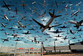 Aircraft landing and taking off from Heathrow airport in 1 hour. Photomontage - John Harris - 18-08-1999
