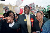 David Lammy Labour Party candidate for the Tottenham by election accompanied by Diane Abbott MP and Oona King MP. London, UK. - Jess Hurd - 10-06-2000