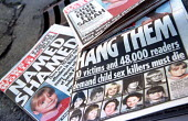 Tabloid newspaper front pages. News of the World name and shame paedophiles in their child sex attacker campaign, and The People Hang them. - Jess Hurd - 2000,2000s,abuse,boy,BOYS,CAMPAIGN,campaigning,CAMPAIGNS,capital punishment,child,child sexual abuse,CHILDHOOD,children,CLJ,crime,female,females,front,girl,GIRLS,gutter,hang,hanging,juvenile,juveniles