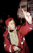 Hackney council worker, protest against council cuts outside the Town hall, London - Jess Hurd - 06-11-2000