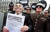 CND street theatre anti nuclear protest against NMD New missile defence, Americas Son of Star Wars, Downing St. - Jess Hurd - 14-04-2001