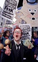 May Day Monopoly Anti Capitalist protest World Bank, Haymarket, London. Drop third world debt. - Jess Hurd - 2000s,2001,activist,activists,Bank,BANKS,CAMPAIGN,campaigner,campaigners,CAMPAIGNING,CAMPAIGNS,Capitalism,capitalist,corporation,DEMONSTRATING,DEMONSTRATION,DEMONSTRATIONS,globalisation,Globalise,glob