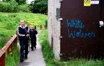 Children and White Wolves nazi graffiti, Limeside, Oldham housing estate. - Jess Hurd - 10-06-2001